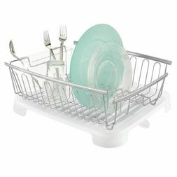 mDesign Large Dish Drying Rack and Drainboard with Swivel Sp