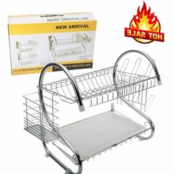 Dish Drying Rack Stainless Steel Over-the-Sink Kitchen Dish