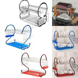 Kitchen Dish Cup Drying Rack Holder Sink Drainer 2-Tier Stai