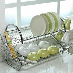 Kitchen Dish Cup Drying Rack Holder Sink Drainer 2 Tiers Sta