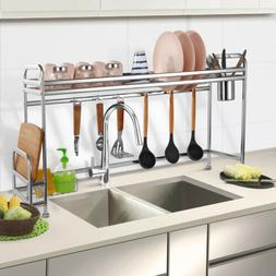 Kitchen Dish Cup Drying Rack Holder Sink Drainer 2-Tier Drye