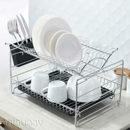Kitchen Dish Drying Rack Drainboard Cutlery Cup Utensil Orga
