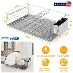 Kitchen Dish Drying Rack Stainless Steel Storage With Chopst