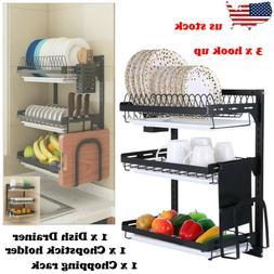 Kitchen Dish Rack Drying Dish Organizer Storage Shelf Wall M