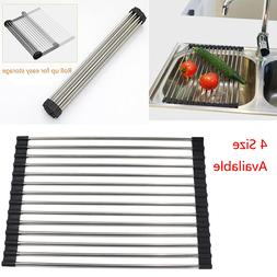 Kitchen Over the Sink Dish Drying Rack Roll Up Stainless Ste