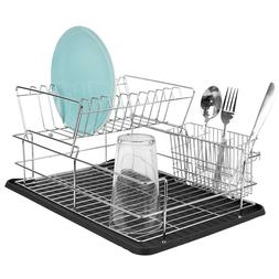 Kitchen Sink Countertop 2 Tier Dish Drying Rack and Draining