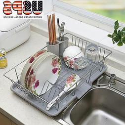 Kitchen Sink Dish Plate Drainer Drying Rack Organizer Tray H