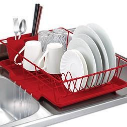 3 Piece Kitchen Sink Dish Drainer Set - Red
