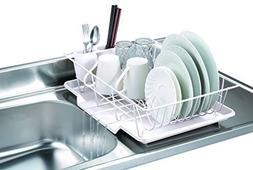 3 Piece Kitchen Sink Dish Drainer Set - White