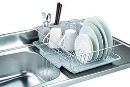 3 Piece Kitchen Sink Dish Drainer Set - Silver