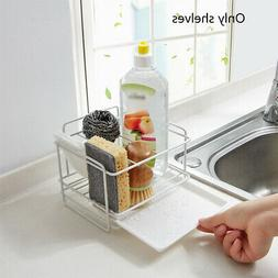 Kitchen Sink Sponge Soap Drain Drying Rack Storage Tray Hold
