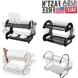 Kitchen Stainless Steel 2 Tier Dish Rack Drainer Drying Stor