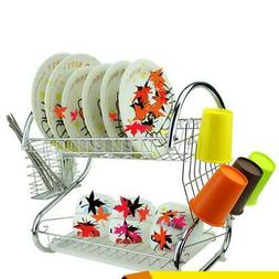Kitchen Storage 2 Tiers Dish Cup Drying Rack Holder Organize