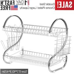 Kitchen Storage Drying Rack Holder Organizer 2 Tiers Dish Cu