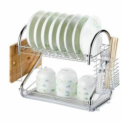 Kitchen Storage Organizer Dish Drainer Drying Rack Metal Sin