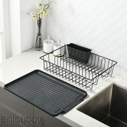 Kitchen Sturdy Wire Dish Drying Rack Drainboard Cutlery Cup