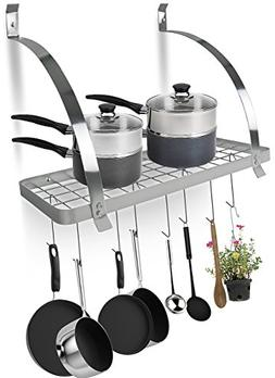 Sorbus Kitchen Wall Pot Rack with Hooks — Decorative Wall