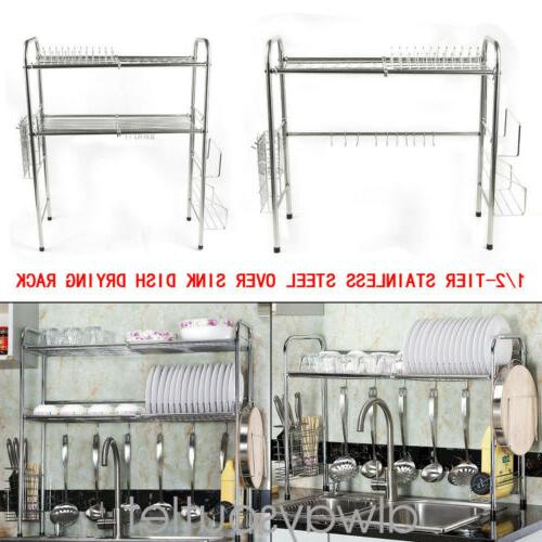 1/2-Tier Steel Drain Kitchen Dish Drying Hold