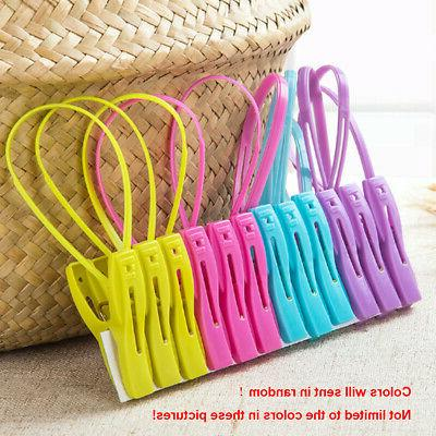 12Pcs Plastic Clothes Socks Drying Rack Towel Hanging Clip L