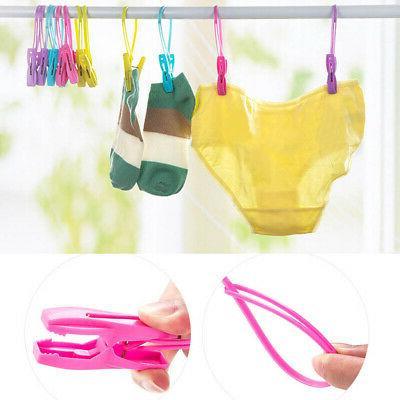 12Pcs Plastic Drying Rack Towel Hanging Clip Hooks