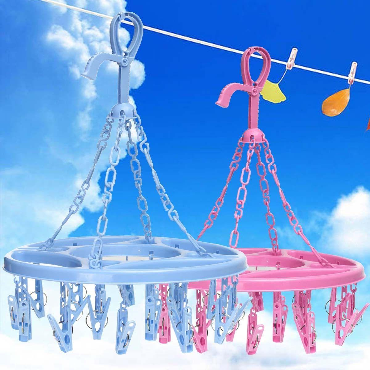 18 Pins Plastic Drying Hanger Rack Laundry Hanging Sock Clot
