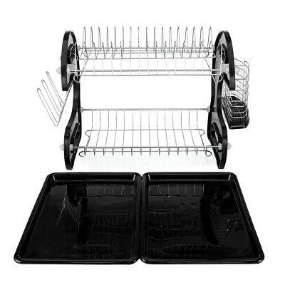 Hot Kitchen Dish Drying Rack Drainer Tray Cutlery US