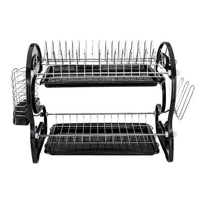 2-Tier Dish Drying Rack Stainless Steel Drainer Kitchen Stor