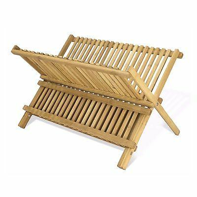2-Tier 100% Bamboo Folding Dish Draining and Drying Rack 17