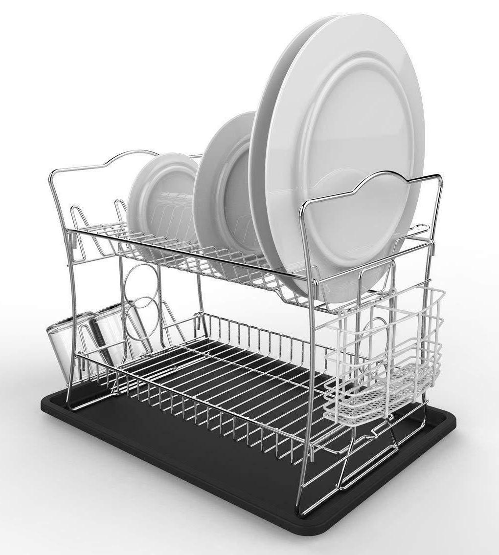 2-Tier Finish Dish Drying Rack Drainboard Removable