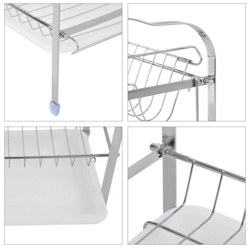 2-Tier Dish Drying Rack Organizer Home Shelf Drainer US