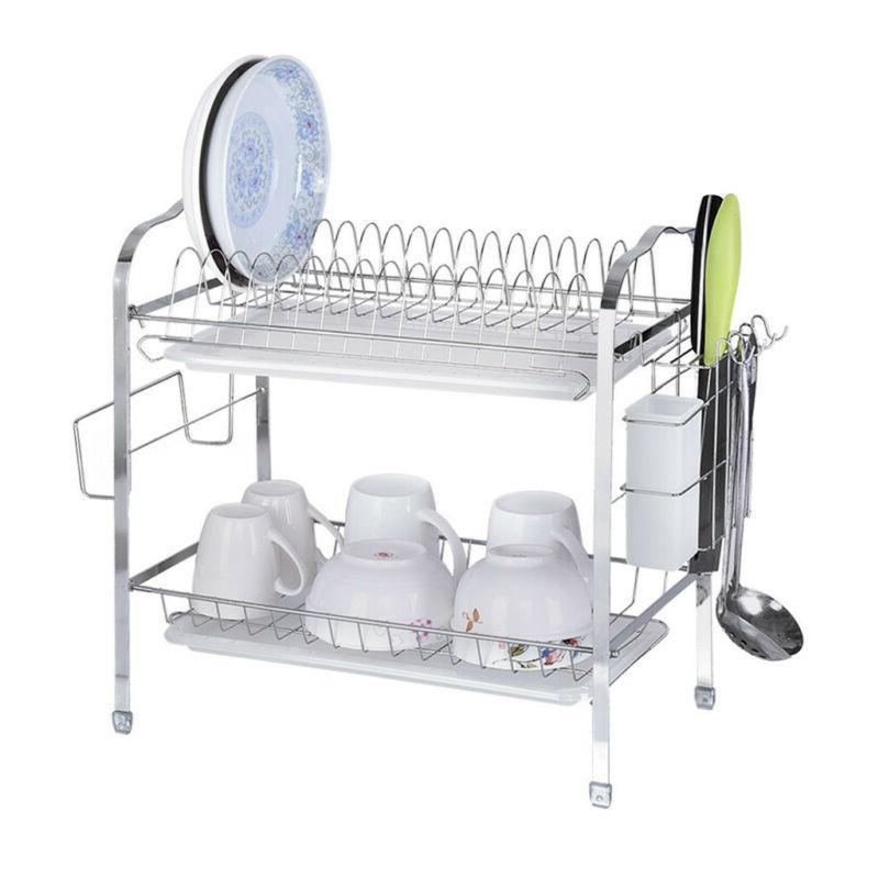 2 Tier Dish Drying Rack Drainboard Cutlery Cup Utensil Organ