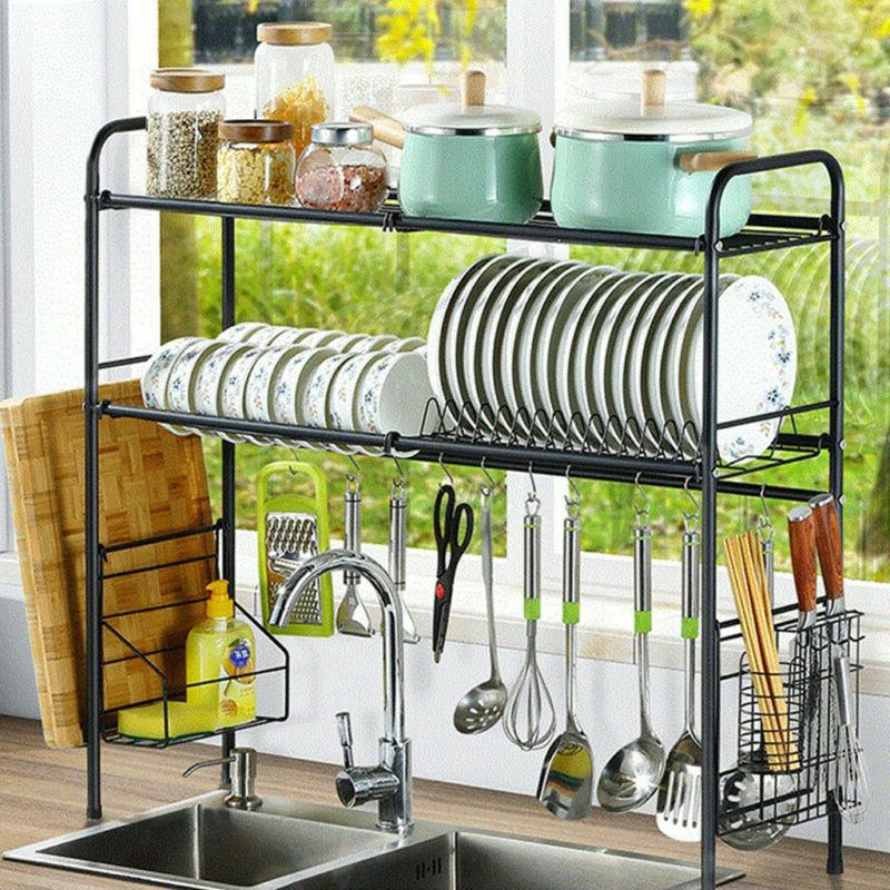 2-Tier Drying Stainless Drainer Storage Space NEW