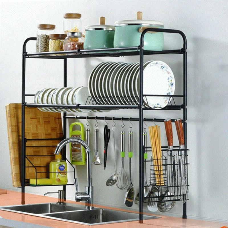 2-Tier Dish Drying Rack Stainless Storage NEW