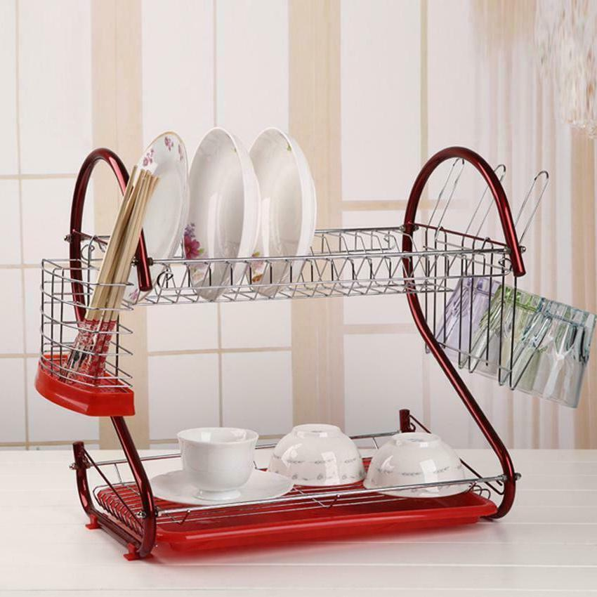 Red 2-Tier Dish Drying Rack Organizer Home Kitchen Collectio
