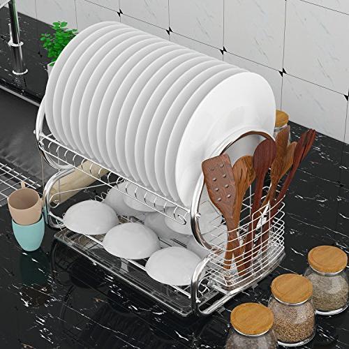 2 tier dish rack drainer