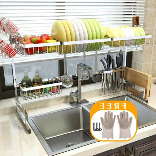 65/85CM Over Sink Dish Drying Rack Stainless Steel Kitchen C