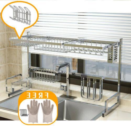 Over Sink Rack Steel Kitchen Holder Shelf 65/85cm
