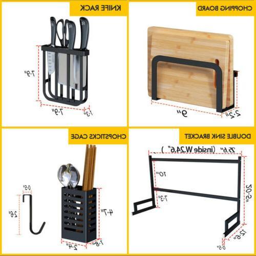 Over Sink Dish Rack Drainer Stainless Kitchen Shelf