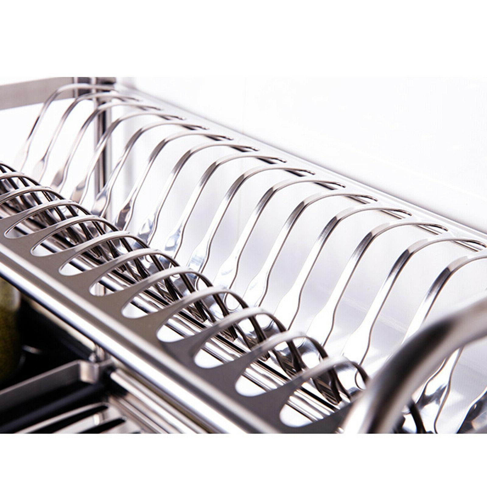 2 Stainless Dish Rack Utensil Plate Holder Wall Drainer