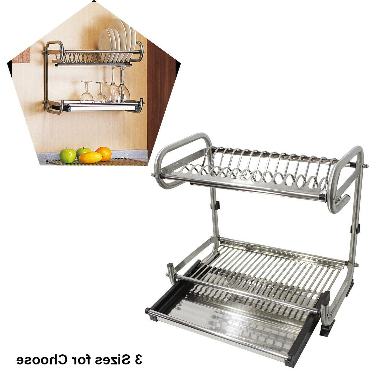 2 tier stainless steel dish rack drying