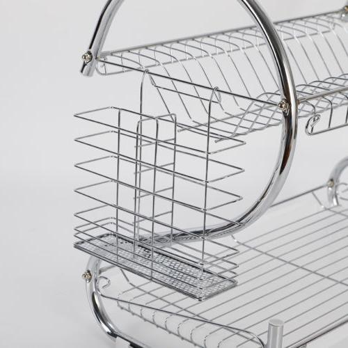 "2-Tier Steel ""s"" shape Dish Drainer Tableware"