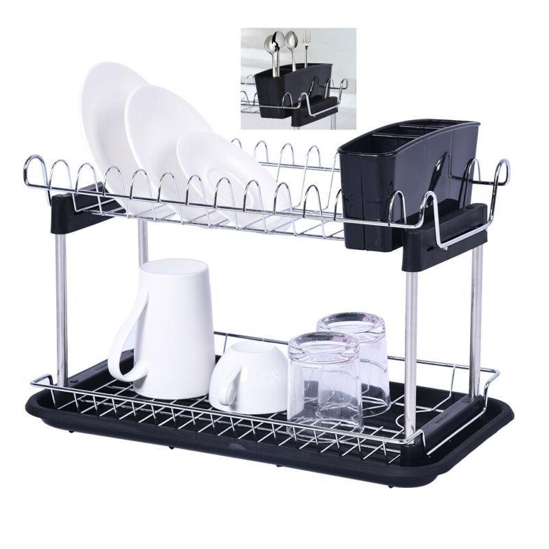 2 tiers dish drying rack drainer dryer