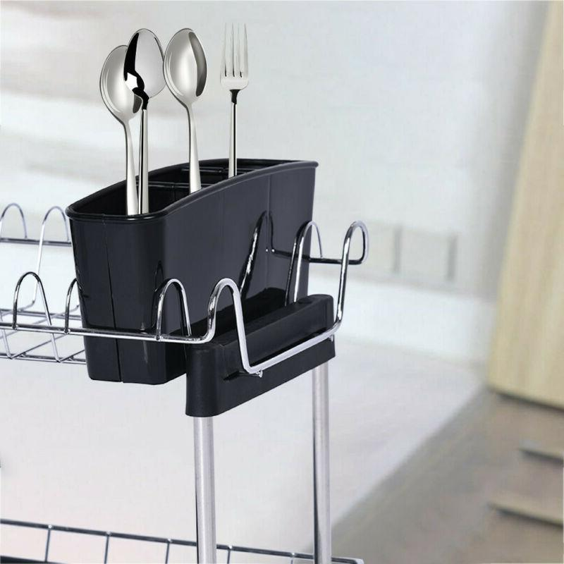 Over The Drying Rack Silver Utensil Holder New