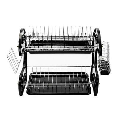 Large Capacity 2 Dish Drainer Rack Kitchen Storage Stainless