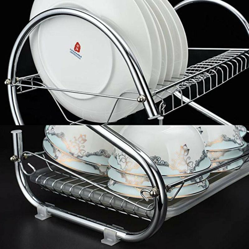 2Tier Dish <font><b>Drying</b></font> Shelf Nonslip Cutlery Holder