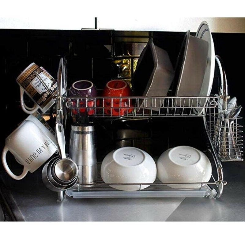 2Tier <font><b>Kitchen</b></font> Dish Cup Holder Bowl Shelf Cutlery Holder Drainer