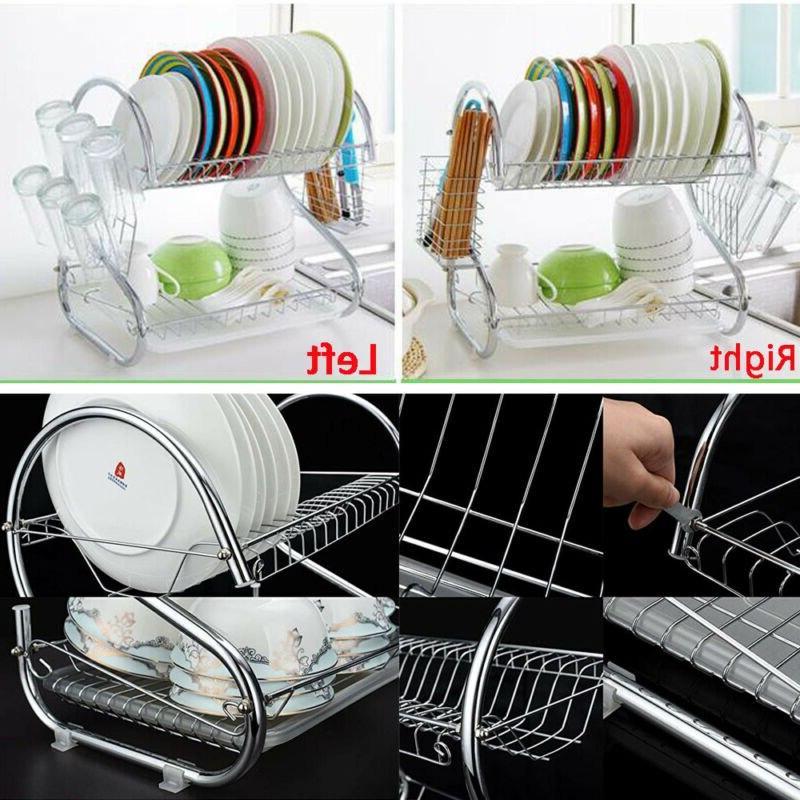 2Tier Stainless <font><b>Kitchen</b></font> Dish Cup Holder <font><b>Over</b></font> <font><b>Sink</b></font> Bowl Shelf Nonslip Cutlery