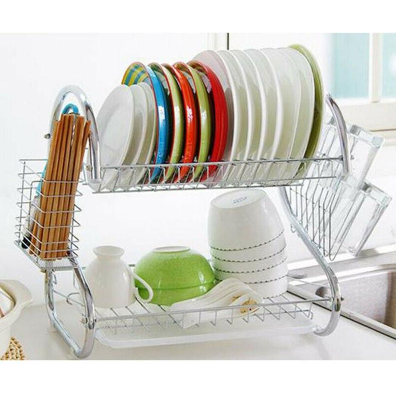 2Tier Stainless Dish Cup <font><b>Rack</b></font> Holder <font><b>Over</b></font> <font><b>Sink</b></font> Shelf Cutlery Holder Drainer