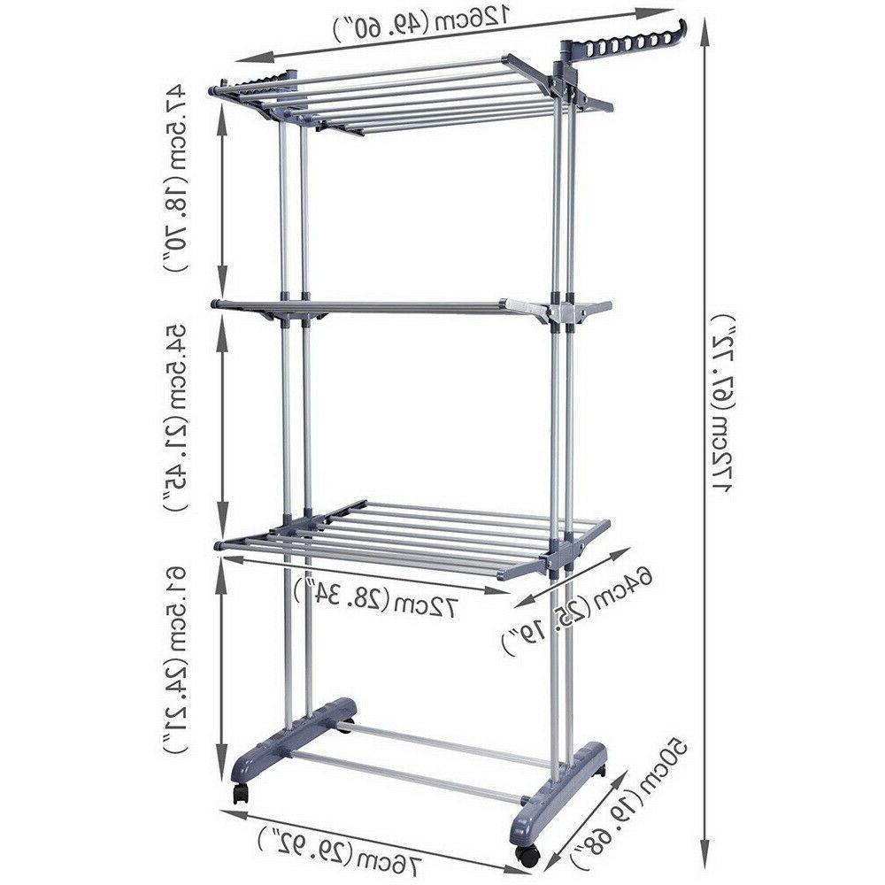 3-Tier Rack Folding Organizer Stand Gray