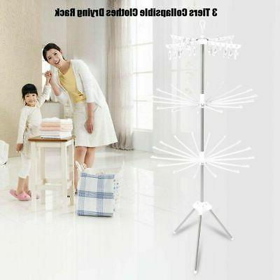 3-Tier Clothes Line Laundry Indoor Retractable Folding Stand